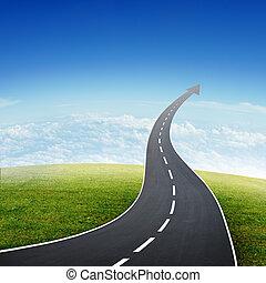llike, su, andare, autostrada, freccia, strada