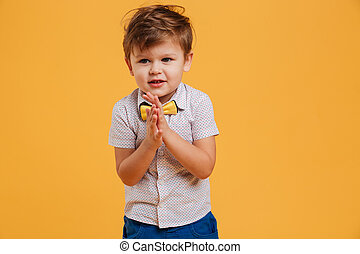 Llittle boy child standing isolated