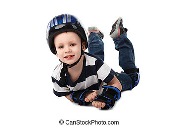 little boy in protective gear fell off his bicycle or scooter or skateboard or roller-skates isolated on white background
