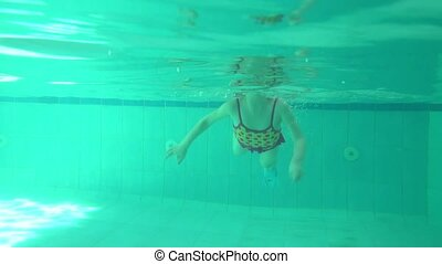 Llittle girl under the water. - A llittle girl diving under...