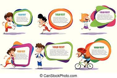 lllustration, de, les, gosses, engageant, dans, différent, activités sports
