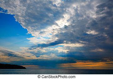 Lloret de Mar beach sunset in costa Brava