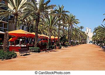 Lloret de Mar main alley on the seashore. Costa Brava, Spain.