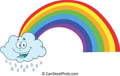 llover, feliz, nube, arco irirs