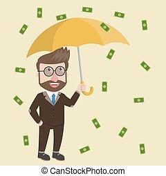llover, hombre, empresa / negocio, dinero