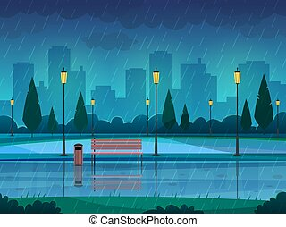 llover, lluvioso, paisaje, calle, ciudad, estación, naturaleza, parque, lluvia, banco, lámpara, vector, plano, plano de fondo, trayectoria, público, día, park.