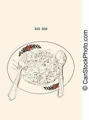 llustration, di, bollito, riso bianco, in, piatto, pietanza, ., vettore, disegno, per, asiatico, menu ristorante, caffè, tailandese, giapponese, cuisine.