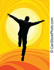 Happy Man Jumping - llustration of Happy Man Jumping