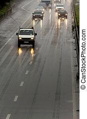 lluvia, carretera