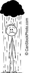 lluvia, cloud., vector, o, tormenta, pequeño, el suyo, posición, caricatura, caer, hombre, hombre de negocios