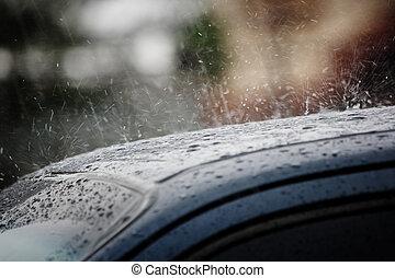 lluvia, en, un, coche, techo