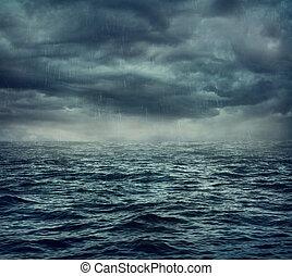 lluvia, encima, mar, tempestuoso