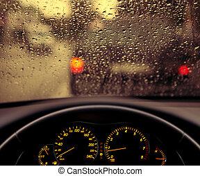 lluvia, gotitas, en, coche, parabrisas