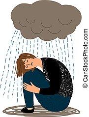 lluvia, niña, llanto, deprimido