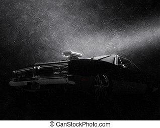 lluvia, noche, -, coche, vendimia, negro, músculo, impresionante, tiro
