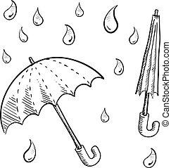 lluvia, paraguas, bosquejo