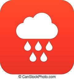 lluvia, rojo, digital, gotas, nube, icono