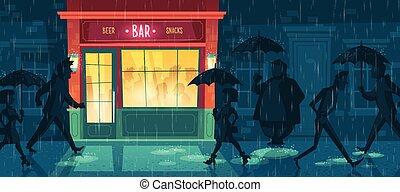 lluvia, vector, plano de fondo, noche, café, barra