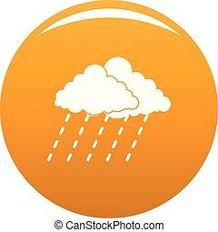 lluvia, vector, tormenta, naranja, nube, icono