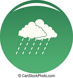 lluvia, vector, verde, nube de tormenta, icono