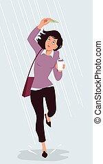 lluvioso, ahorro, día