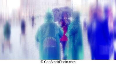 lluvioso, cuadrado, resumen, o, day., central, hauptmarkt, ...