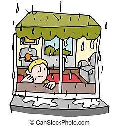 lluvioso, día de ventana, hombre que sienta
