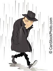 lluvioso, hombre, espíritu, día, bajo