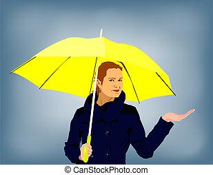 lluvioso, mujer, joven, tenencia, día