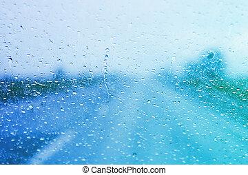 lluvioso, parabrisas