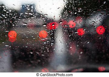 lluvioso, tráfico, ventana, bloqueado