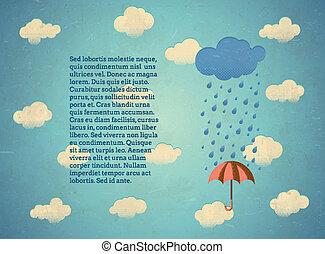 lluvioso, viejo, paraguas, nube, tarjeta