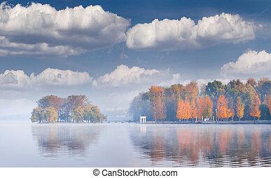 lMisty autumn morning on the city pond. Ternopil; Ukraine; ...