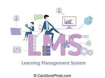 LMS, learning management system. Concept table with keywords, letters and icons. Colored flat vector illustration on white background.