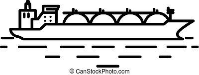 lng, ou, bateau, naturel, plat, linéaire, liquéfié, illustration, essence, pétrolier