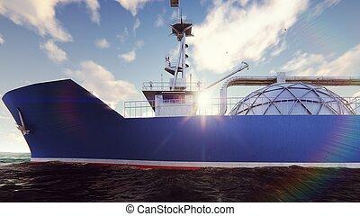 LNG tanker floating in the ocean at sunrise. 3D Rendering -...