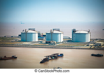 LNG tanks at the port in shanghai yangshan port, China