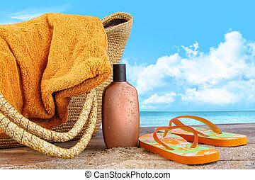 loção, toalha praia, bronzeado