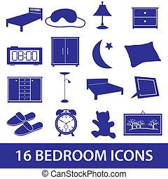 ložnice, ikona, dát, eps10
