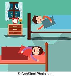 ložnice, s, děti, spací, do, sloj, místo, u lože, a, hodiny