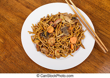 Lo Mein on Plate with Chopsticks