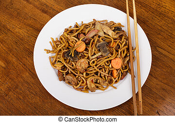 Lo Mein on White Plate with Chopsticks