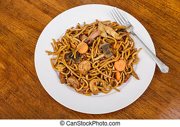 Lo Mein on White Plate with Fork