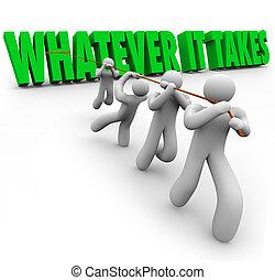 lo que, él, toma, equipo, gente, tirar, palabras, superación, obstáculo