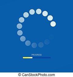 Load bar for mobile apps, web preloader on blue background. Yellow radial load, update or download diagram icon of progress bar, minimal flat design