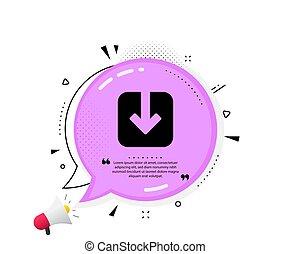 Load document icon. Download arrowhead. Vector