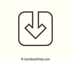 Load document line icon. Download arrowhead.