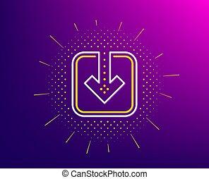 Load document line icon. Download arrowhead. Vector