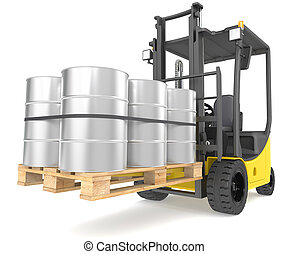 Perspective view of a Forklift Truck with a pallet and Steel Barrels. Warehouse and logistics series.