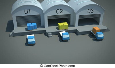 load / shipment consolidation strategies - multi-tier pooling - stylized high quality 3d animation